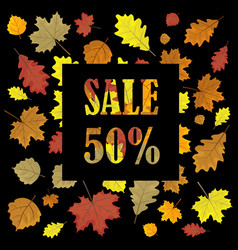 Sales banner with autumn leaves leafs in season vector
