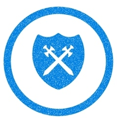 Security shield rounded icon rubber stamp vector