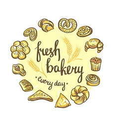 Set of bakery icons Bread cookies cake pie Bakery vector image
