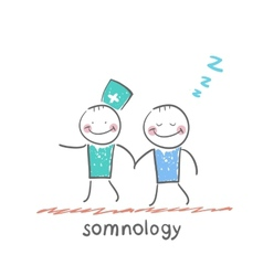 somnology with a patient who has fallen asleep vector image vector image