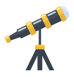 Telescope flat icon astronomy and science vector