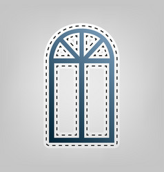 Window simple sign blue icon with outline vector