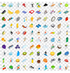 100 trophy and awards icons set isometric style vector image