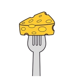 Cheese fork food vector