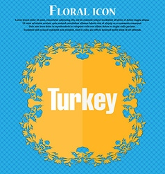 Turkey icon Floral flat design on a blue abstract vector image