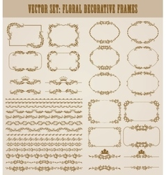 Set of gold decorative borders frame vector