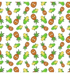 Fruits seamless background with funny corn vector