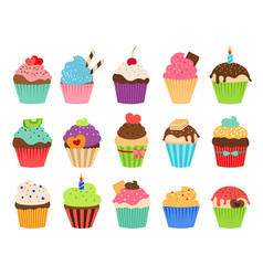 cupcakes flat icons vector image