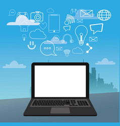 laptop social media icons city bakcground vector image