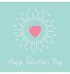 Big pink shining heart Flat design Valentines day vector image