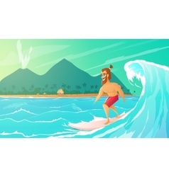 Surfer ride on surfboard vector