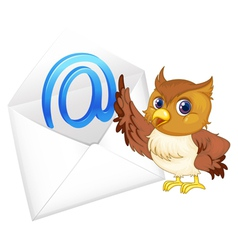 Owl with mail envelope vector
