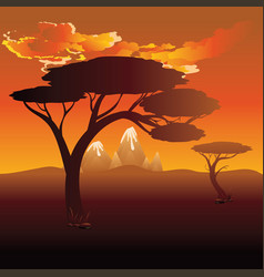 African sunset landscape vector