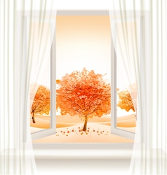Autumn background with an open window and colorful vector image vector image