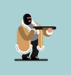 Big robber in mask is ready to shoot vector
