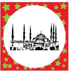 Black 8-bit the blue mosque sultanahmet camii vector