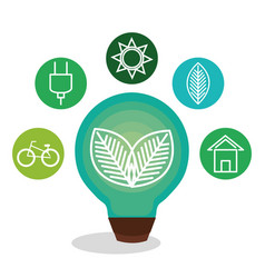 bulb with leafs ecology icon vector image