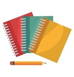 cartoon books pencil school design vector image