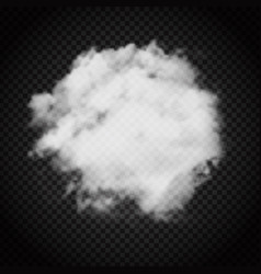 Cloud of smoke on dark transparent background vector
