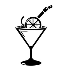 Cocktail icon simple black style vector