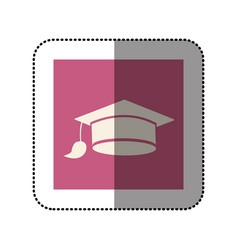 Color sticker square with graduation hat icon vector