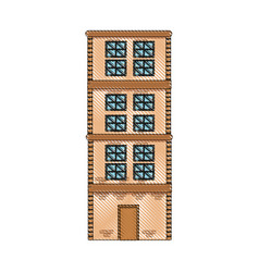 Drawing building home brick construction vector