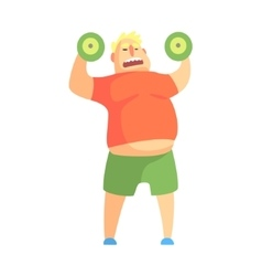 Funny chubby man character doing gym workout vector