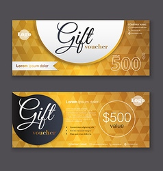 Gift voucher template with gold pattern Gift vector image vector image