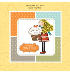 Happy Birthday card with girl and cup cake vector image