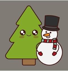 Kawaii pine tree and snowman of christmas season vector