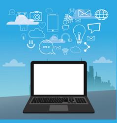 Laptop social media icons city bakcground vector