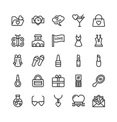 Love and valentine line icons 15 vector