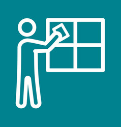 Man cleaning window vector