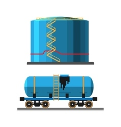 Oil extraction truck and container vector