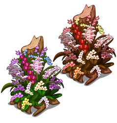 Old stump overgrown with colourful wild flowers vector