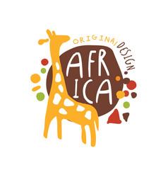 Original african logo with cute giraffe vector