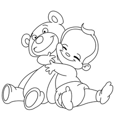 Outlined baby hug bear vector
