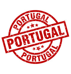 Portugal red round grunge stamp vector