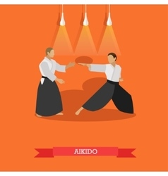 Poster of martial arts aikido fighters in vector