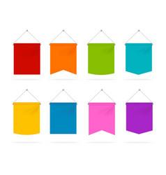 realistic 3d detailed color pennant template icons vector image vector image