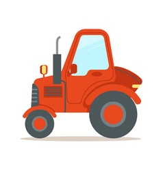 Red tractor heavy agricultural machinery colorful vector