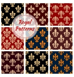 Royal fleur-de-lis floral seamless patterns set vector