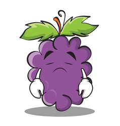sad grape character cartoon collection vector image