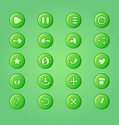 Set of mobile bright green elements for ui game vector