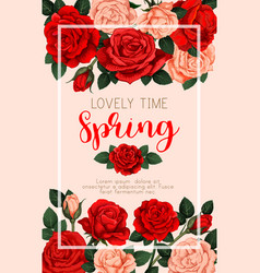 Spring banner with roses vector