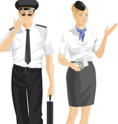 stewardess and pilot vector image vector image