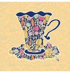 Teacup background vector image