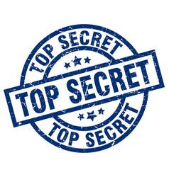 top secret blue round grunge stamp vector image vector image