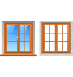 Wooden windows indoor outdoor realistic icons vector
