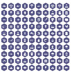 100 earth icons hexagon purple vector